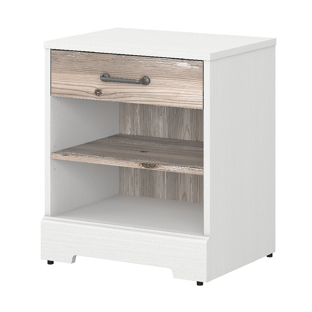 kathy ireland Home by Bush Furniture River Brook Nightstand with Drawer in White Suede Oak and Barnwood - Bush Furniture RBS121W2B