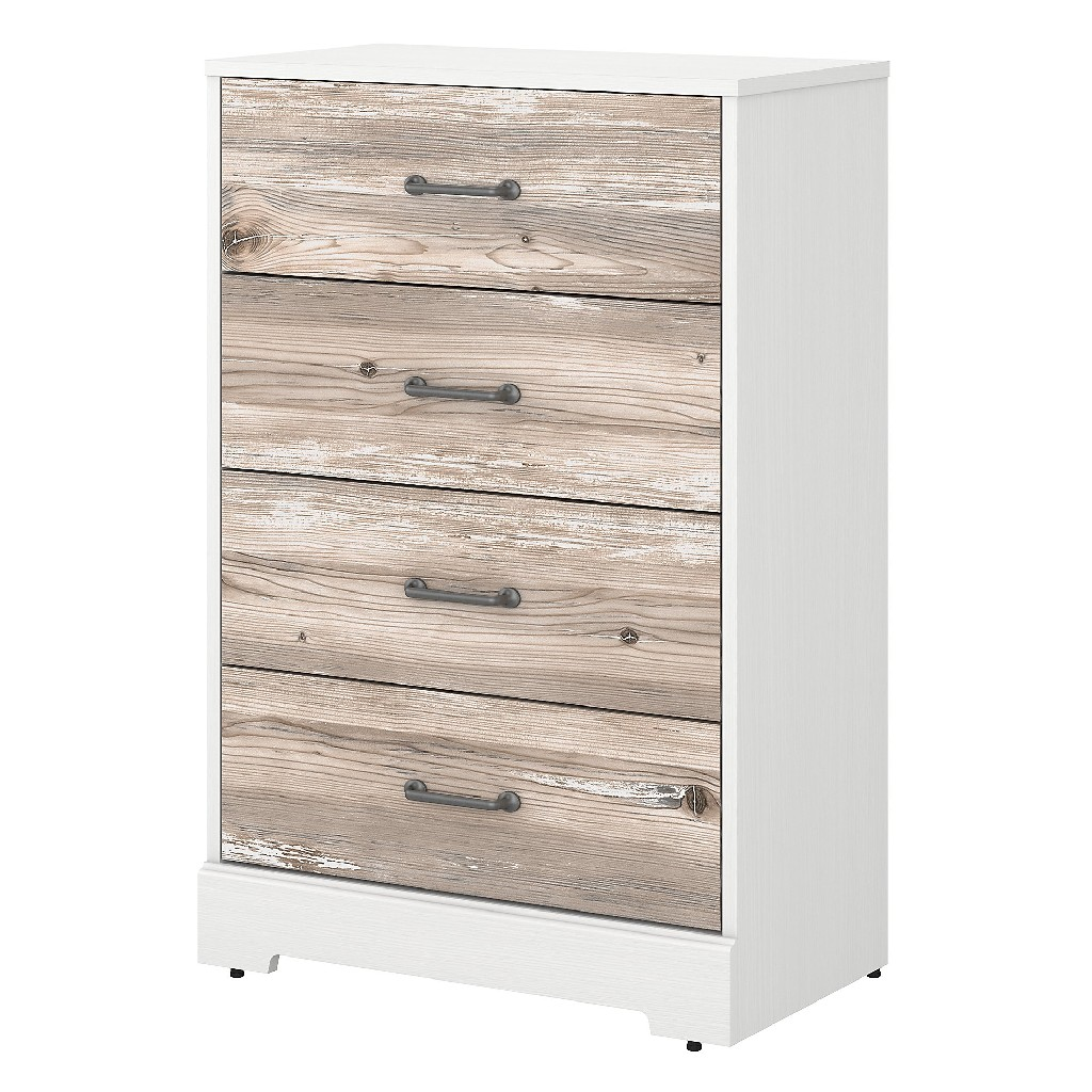 kathy ireland Home by Bush Furniture River Brook Chest of Drawers in White Suede Oak and Barnwood - Bush Furniture RBS132W2B