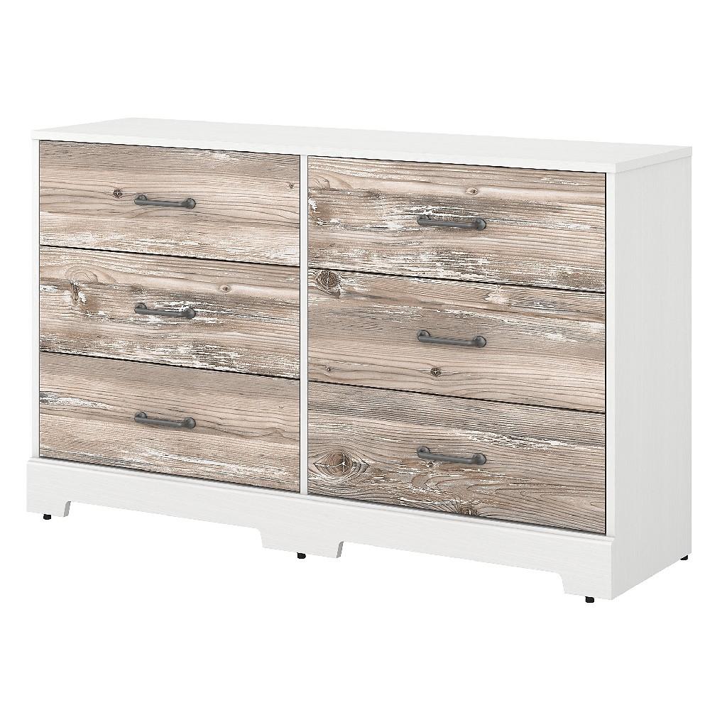 kathy ireland Home by Bush Furniture River Brook 6 Drawer Dresser in White Suede Oak and Barnwood - Bush Furniture RBS160W2BK