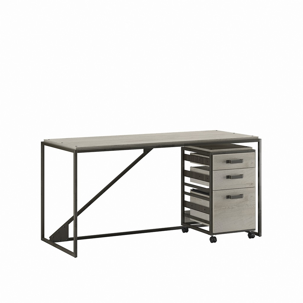 Bush Furniture Refinery 62W Industrial Desk with 3 Drawer Mobile File Cabinet in Cottage White - Bush Furniture RFY005CWH