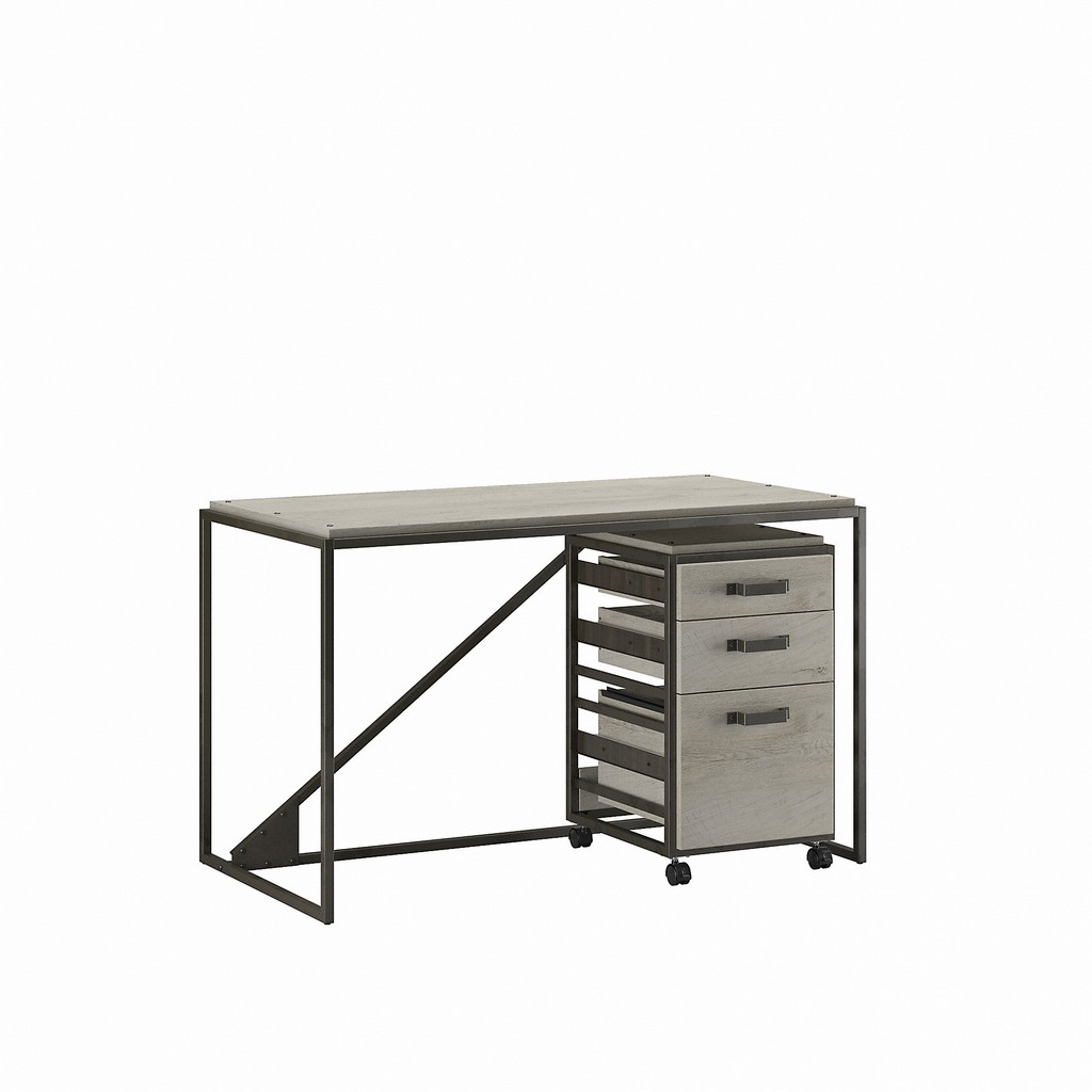 Bush Furniture Refinery 50W Industrial Desk with 3 Drawer Mobile File Cabinet in Cottage White - Bush Furniture RFY006CWH