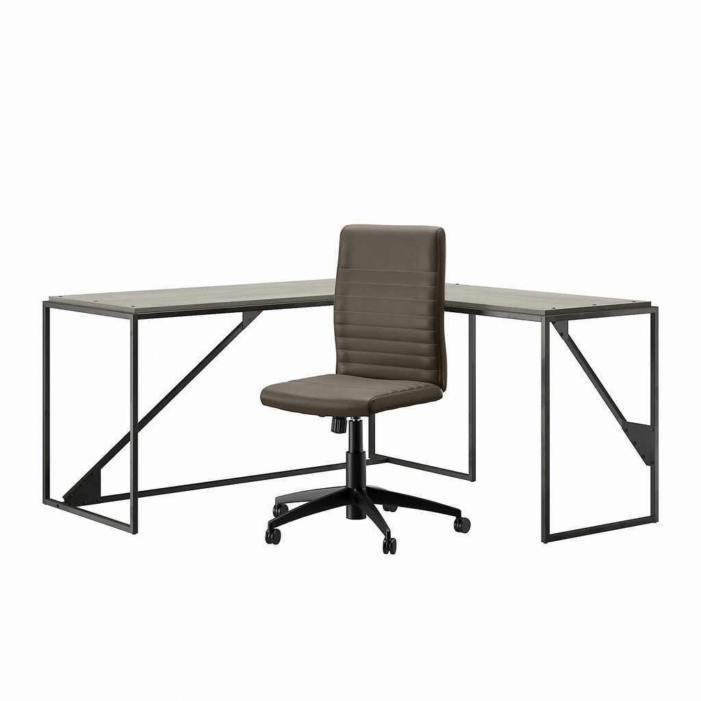Bush Furniture Refinery 62W L Shaped Industrial Desk and Chair Set in Cottage White - Bush Furniture RFY011CWH