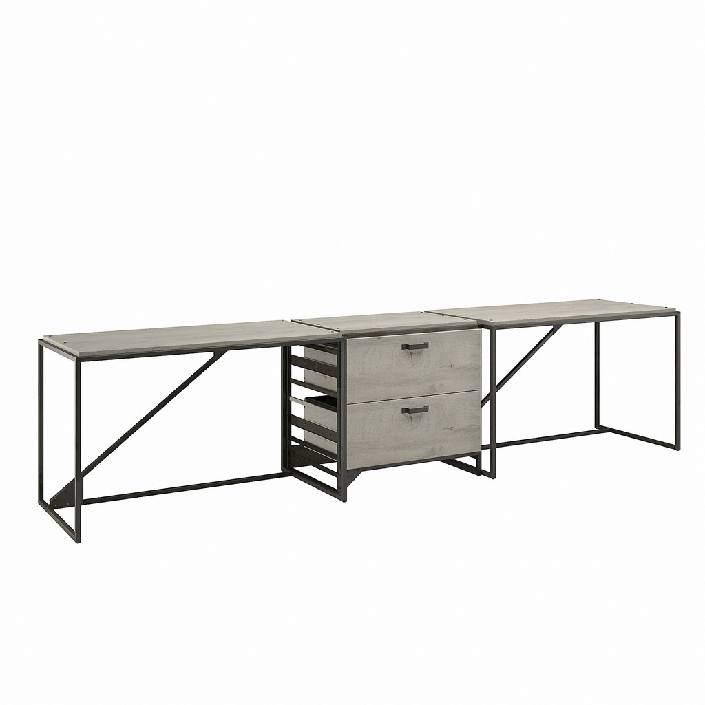 Bush Furniture Refinery 2 Person Industrial Desk Set with Lateral File Cabinet in Cottage White - Bush Furniture RFY019CWH