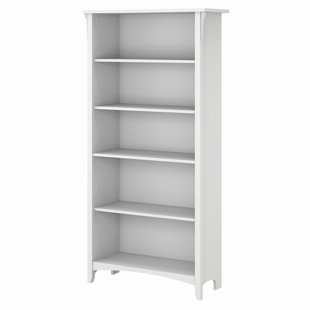 Bush Furniture Salinas Tall 5 Shelf Bookcase in Pure White - Bush Furniture SAB132G2W-03