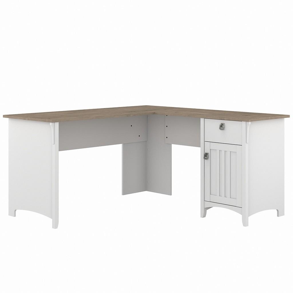 Bush Furniture Salinas 60W L Shaped Desk with Storage in Pure White and Shiplap Gray - Bush Furniture SAD160G2W-03