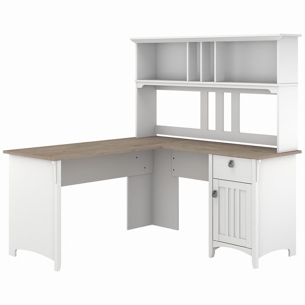 Bush Furniture Salinas 60W L Shaped Desk with Hutch in Pure White and Shiplap Gray - Bush Furniture SAL004G2W