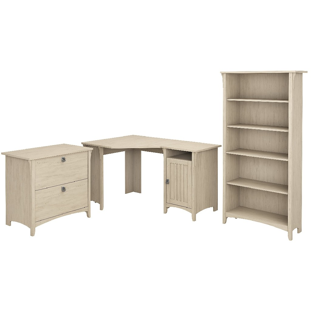 Bush Furniture Salinas 55W Corner Desk w/ Lateral File Cabinet & 5 Shelf Bookcase in Antique White - Bush Furniture SAL013AW