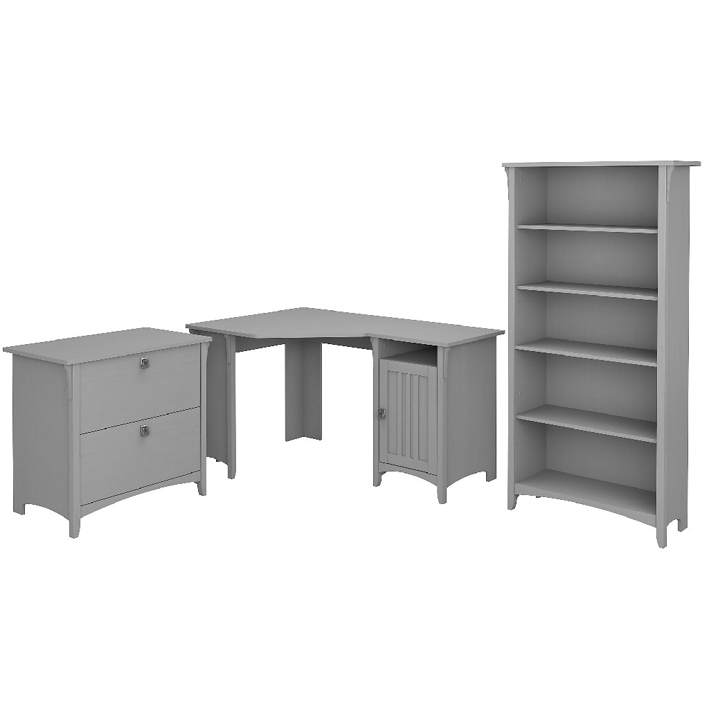 Bush Furniture Salinas 55W Corner Desk w/ Lateral File Cabinet & 5 Shelf Bookcase in Cape Cod Gray - Bush Furniture SAL013CG