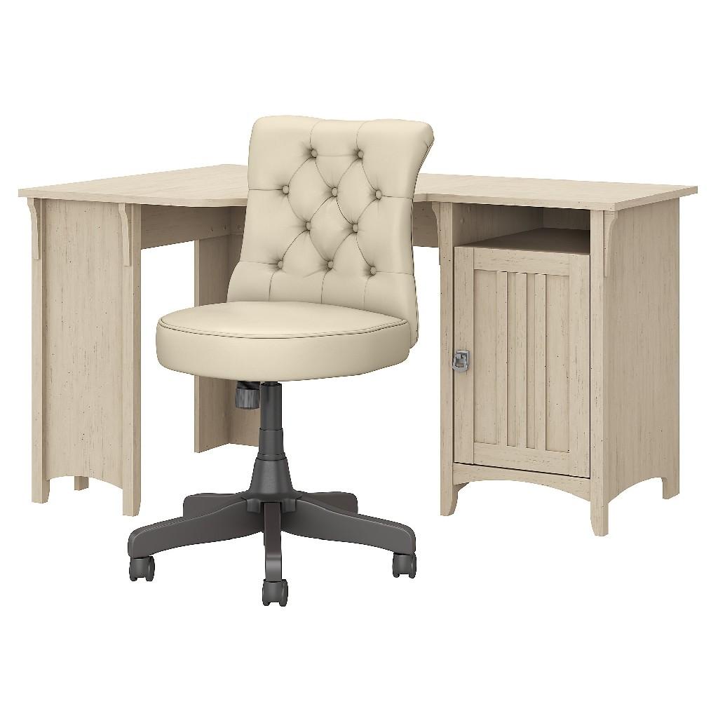 Bush Furniture Salinas 55W Corner Desk w/ Mid Back Tufted Office Chair in Antique White - Bush Furniture SAL017AW