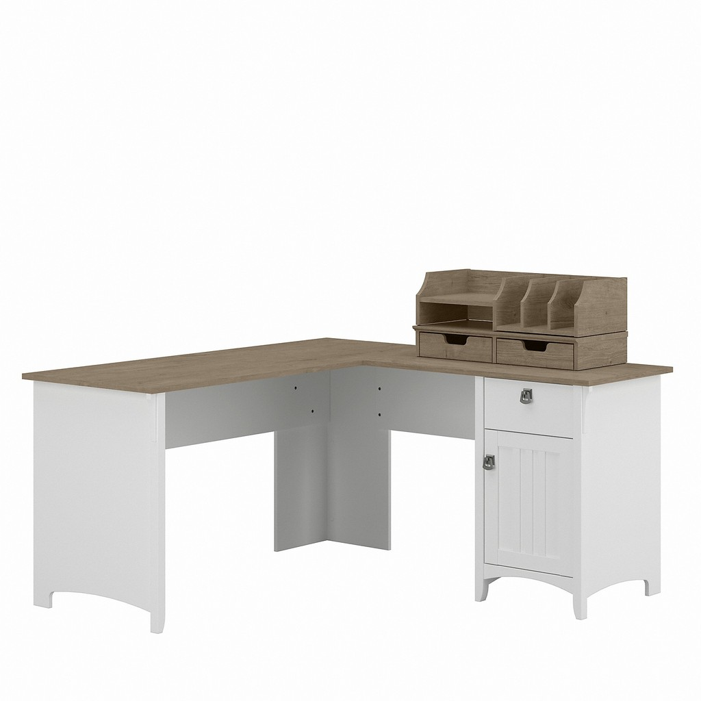 Bush Furniture Salinas 60W L Shaped Desk with Storage and Organizers in Pure White and Shiplap Gray - Bush Furniture SAL037G2W