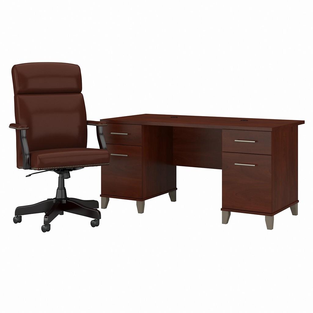 Bush Office Desk Drawers High Back Executive Chair Hansen Cherry