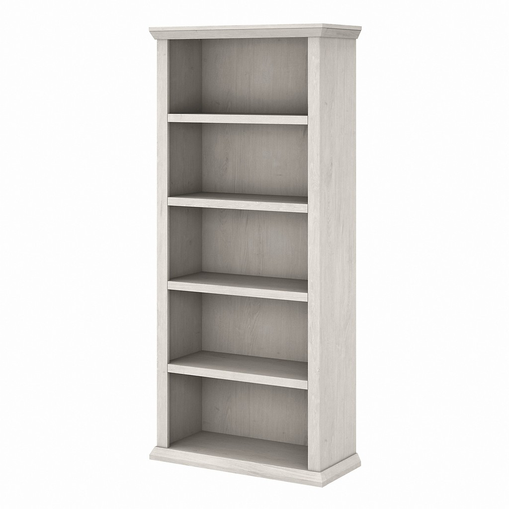 Bush Furniture Yorktown Tall 5 Shelf Bookcase in Linen White Oak - Bush Furniture WC40466-03