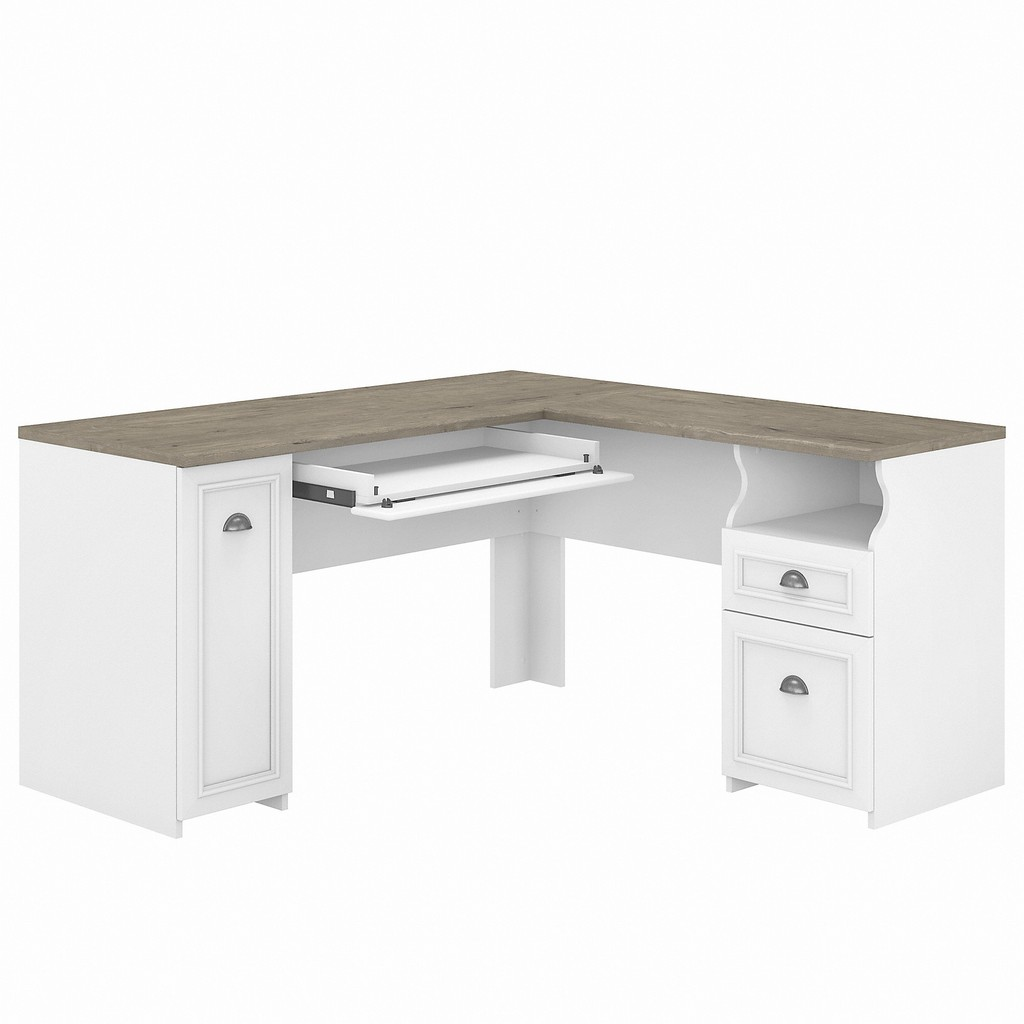 Bush Furniture Fairview 60W L Shaped Desk with Drawers and Storage Cabinet in Pure White and Shiplap Gray - Bush Furniture WC53630-03K