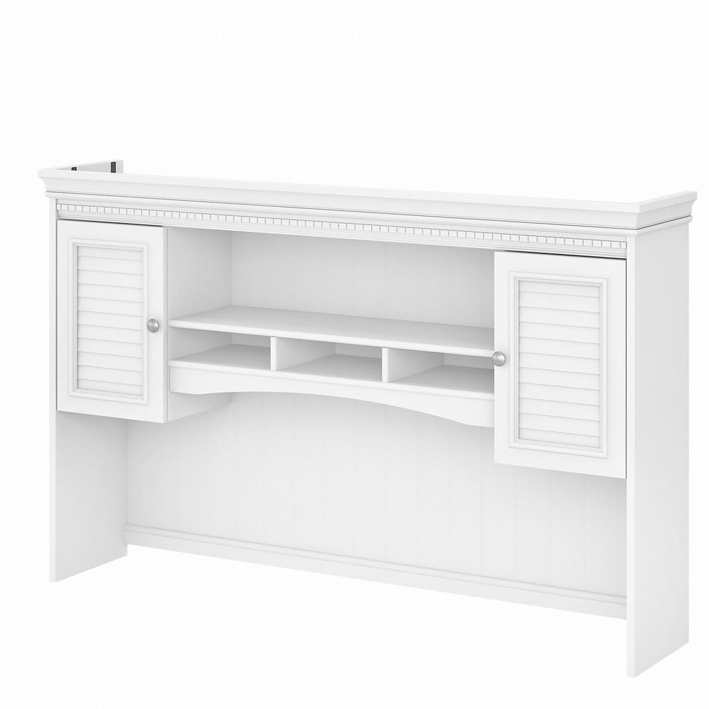 Bush Furniture Fairview 60W Hutch for L Shaped Desk in Pure White and Shiplap Gray - Bush Furniture WC53631-03