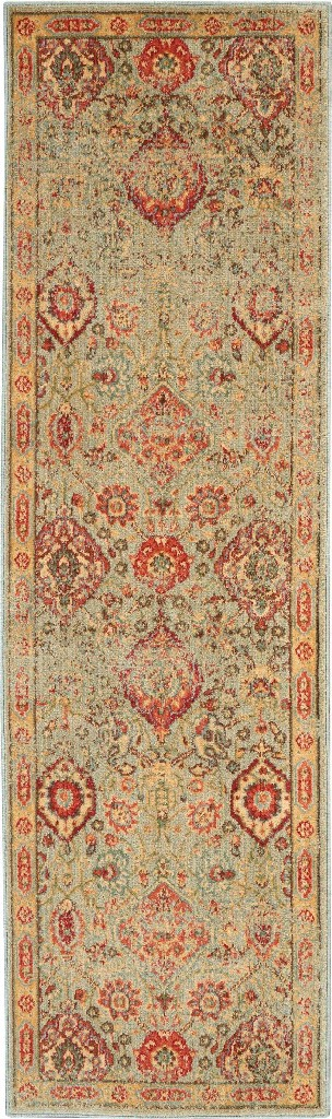 Oriental | Runner | Green | Light | Area | Rug