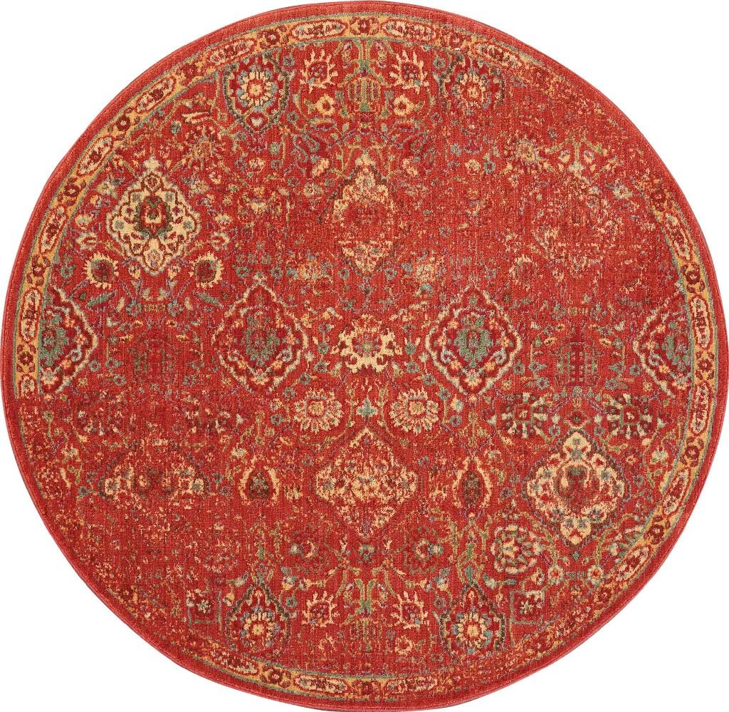 Oriental   Round   Area   Rug   Red