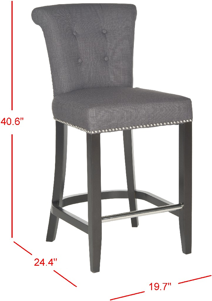 Addo Ring Counter Stool in Charcoal/Espresso - Safavieh HUD8241A