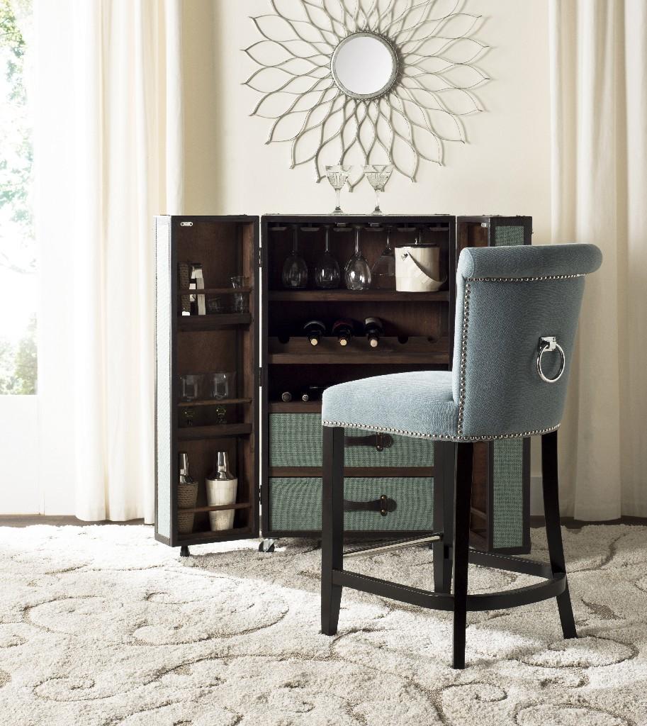 Addo Ring Counter Stool in Sky Blue/Espresso - Safavieh HUD8241C