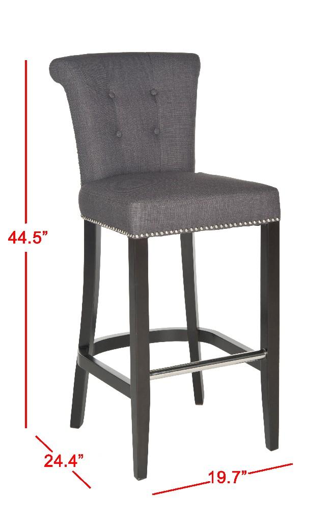 Addo Ring Bar Stool in Charcoal/Espresso - Safavieh HUD8242A