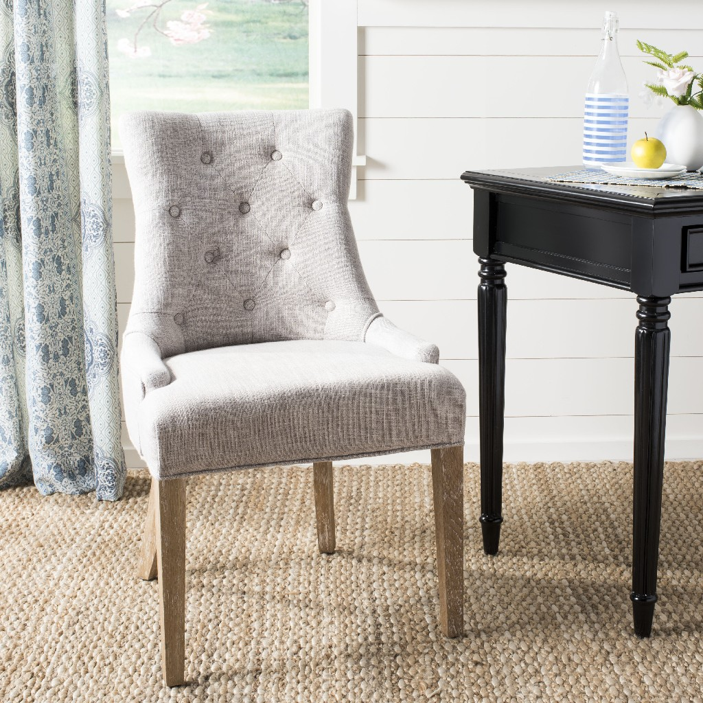 Becca 20h Linen Dining Chair In Greywhite Washed Safavieh Mcr4502l