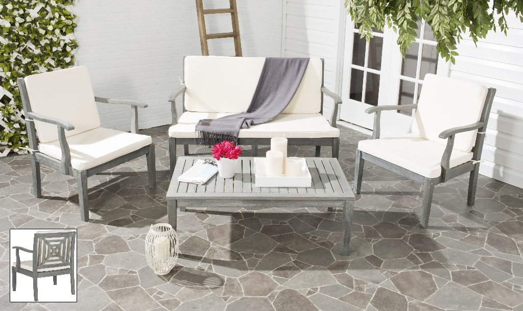 Safavieh Del Mar Outdoor Set Ash Grey Beige