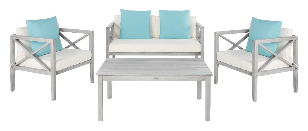 Safavieh Nunzio Outdoor Set Accent Pillows Grey Wash Off White Light Blue