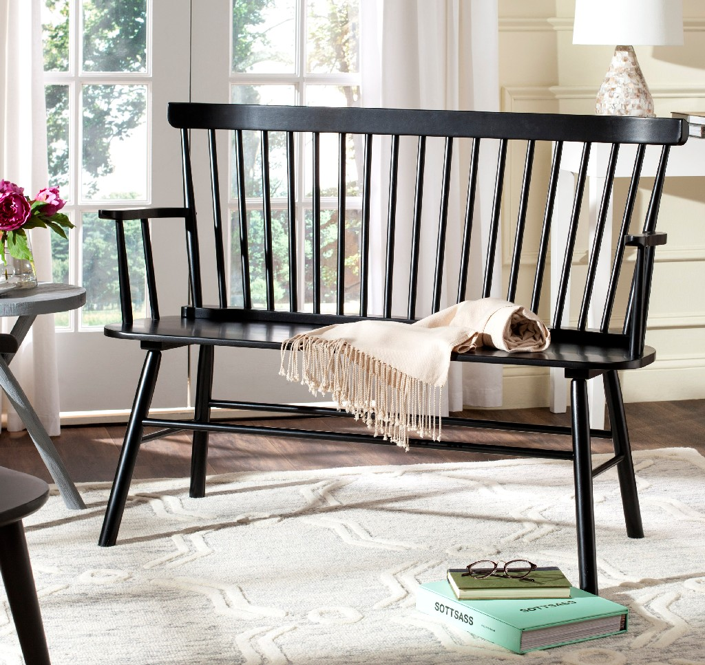 Addison Spindleback Settee in Black - Safavieh AMH8513A