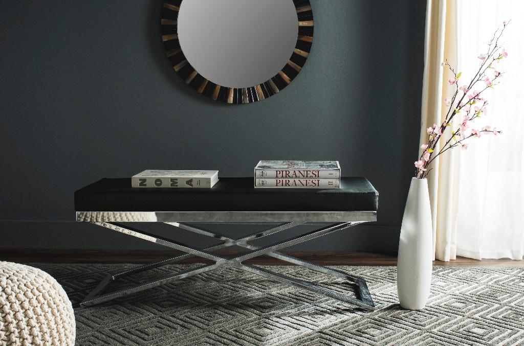 Acra Bench in Black/Silver/Chrome - Safavieh FOX2027B