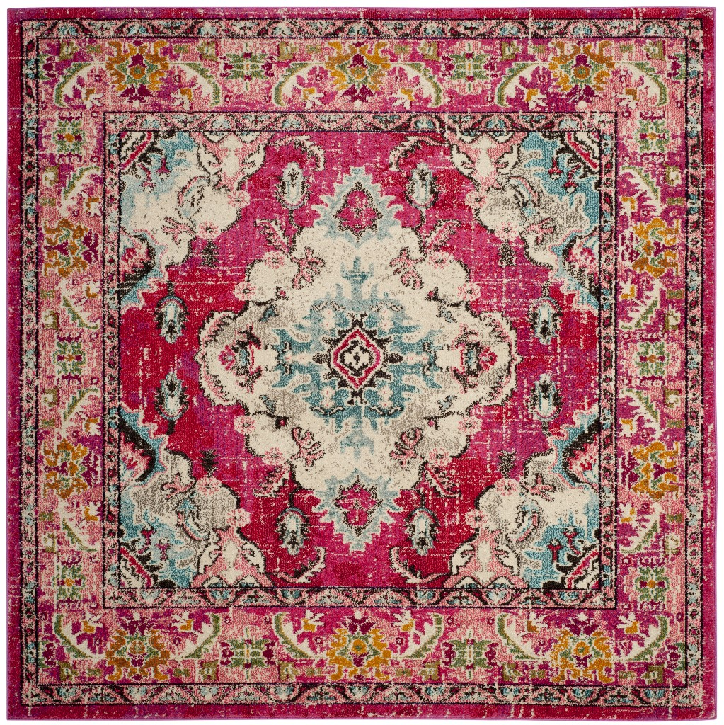 Square Rug in Pink And Multi Safavieh