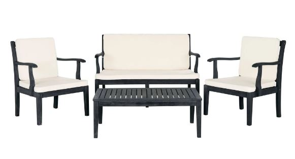 Safavieh Del Mar Outdoor Set Dark Slate Grey Beige