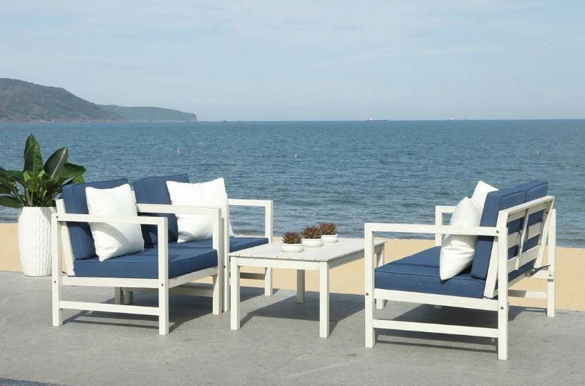 Safavieh Montez Outdoor Set Accent Pillows White Navy