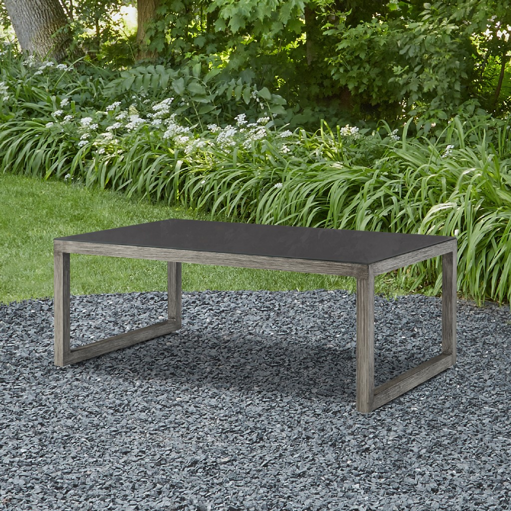 Monaco Outdoor Table in Brushed Antique White - Real Flame 1172-BAW