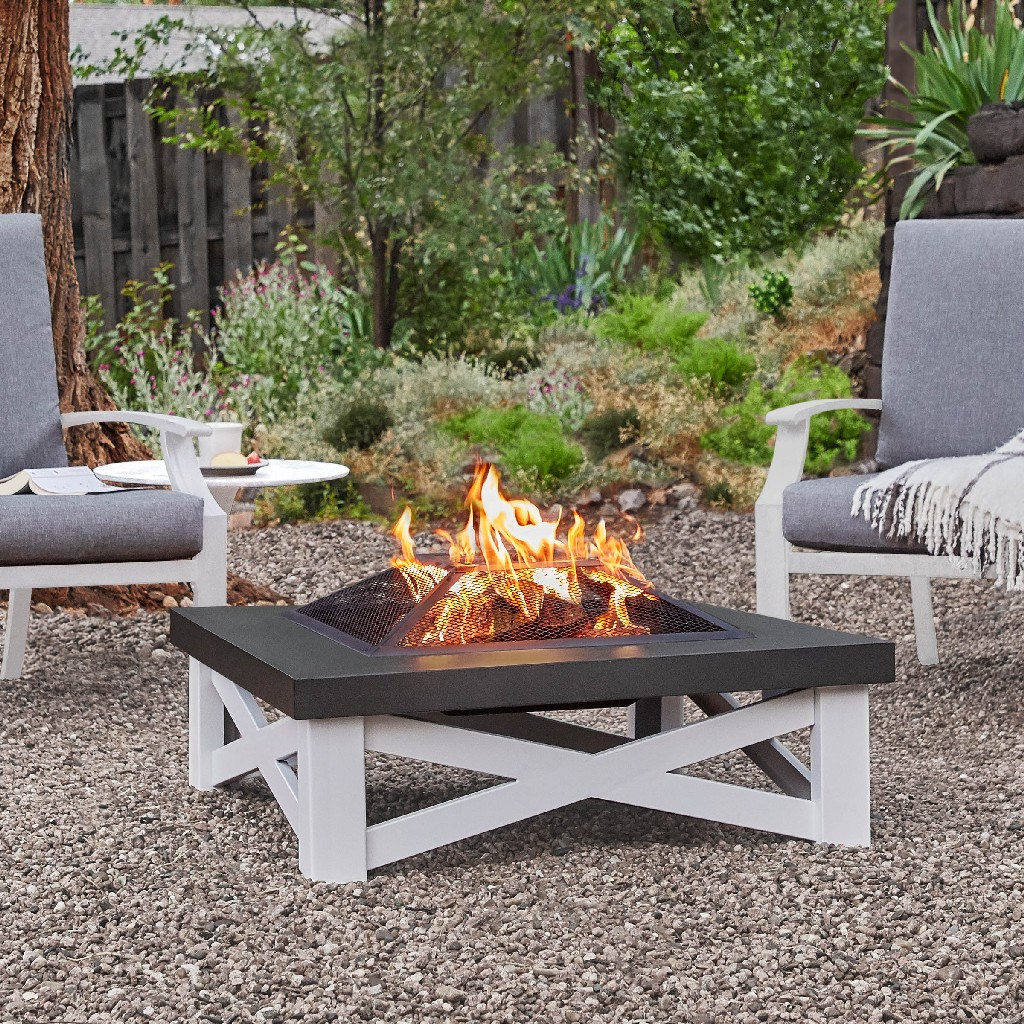 Austin Wood-Burning Fire Table in White with Black Top - Real Flame 350-WHT