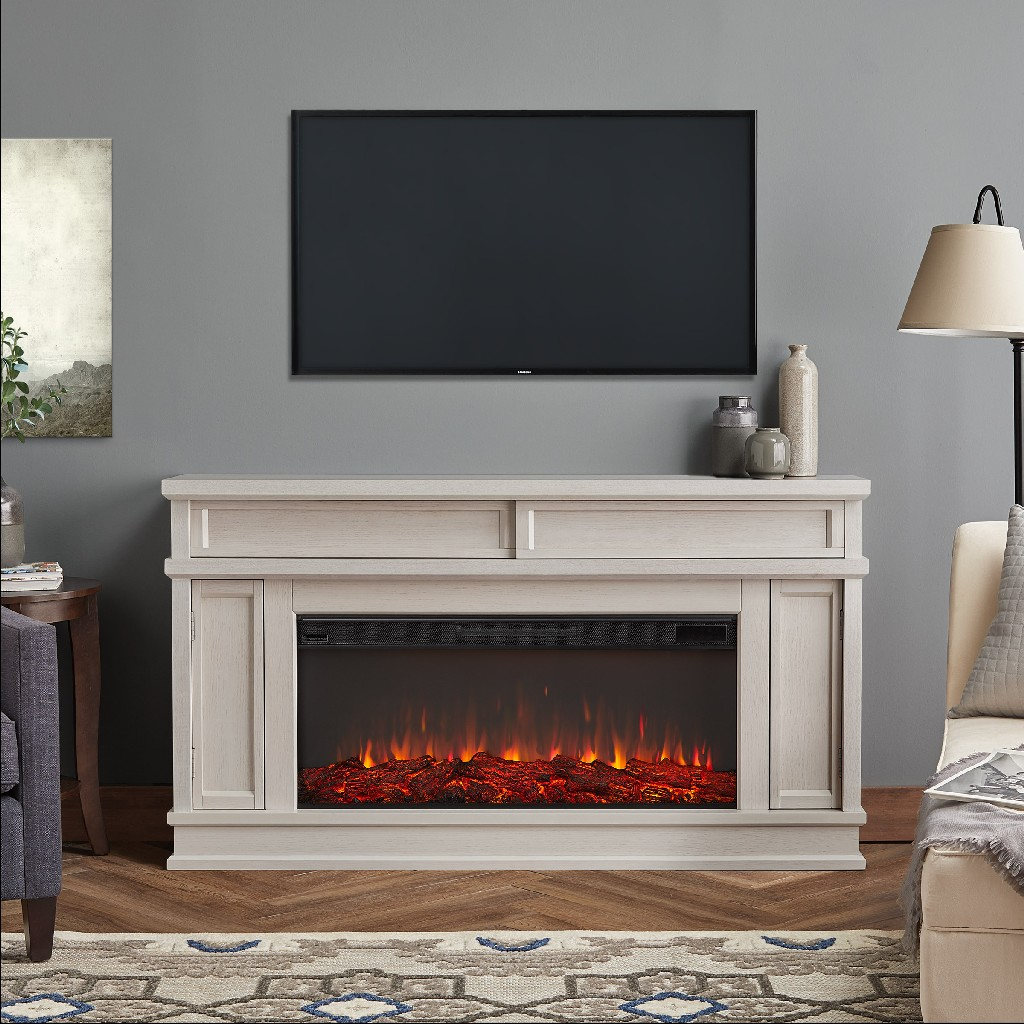 Real Flame Torrey Electric Fireplace Bone White