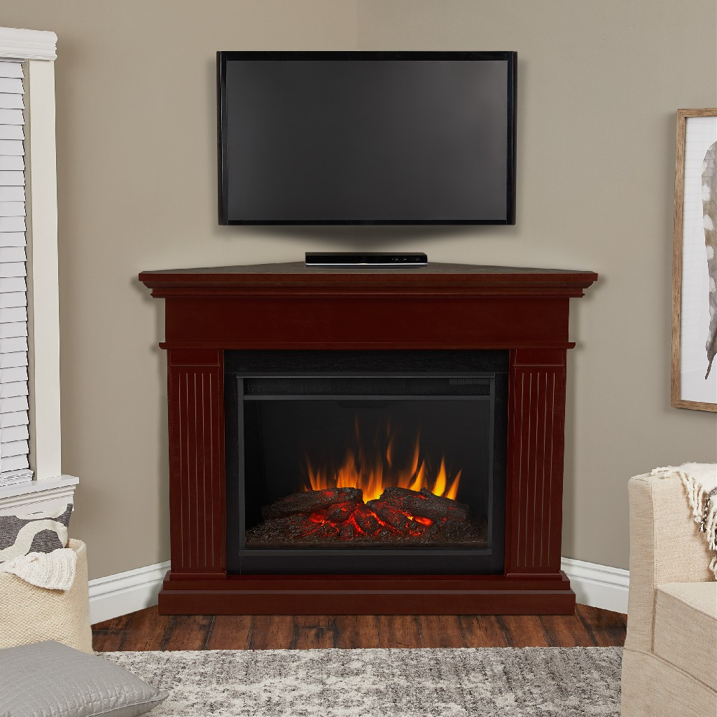 Kennedy Grand Corner Electric Fireplace in Dark Walnut - Real Flame 8050E-DW