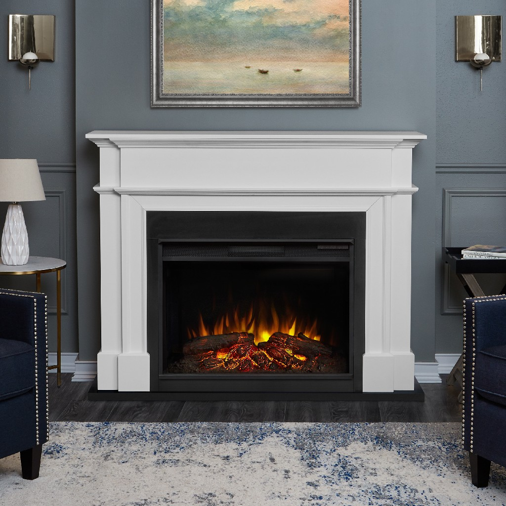 Real Flame Harlan Grand Electric Fireplace White