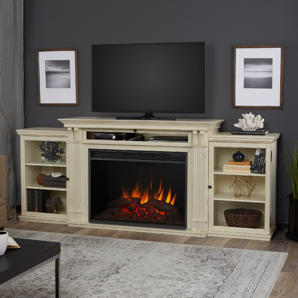 Tracey Grand Entertainment Center Electric Fireplace Distressed White - Real Flame 8720E-DSW