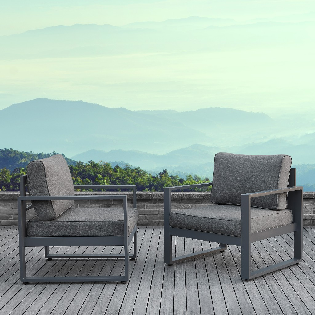 Baltic Casual Chair Set in Gray - Real Flame 9611-GRY