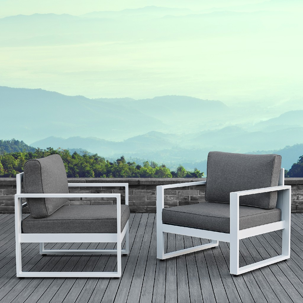 Baltic Casual Chair Set in White - Real Flame 9611-WHT