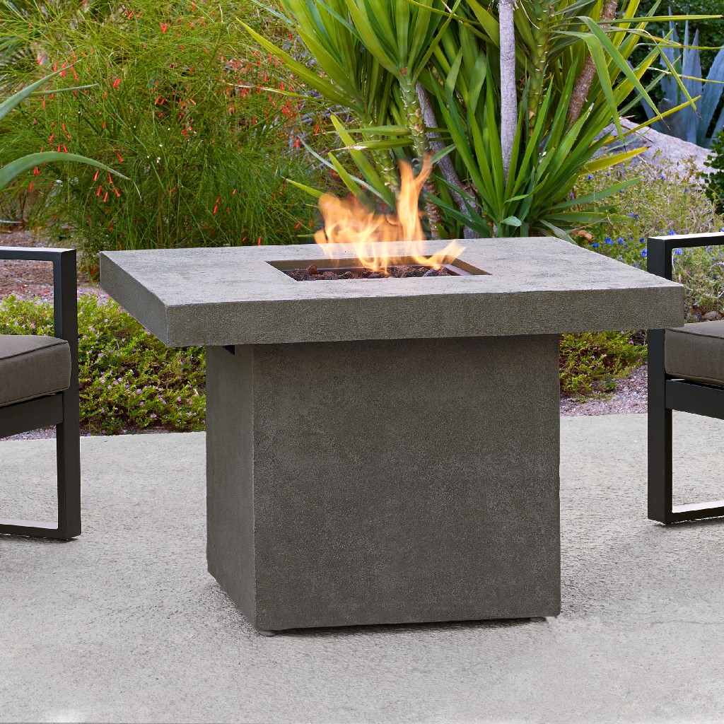 Real Flame Ventura Square Chat Height Propane Fire Table Glacier