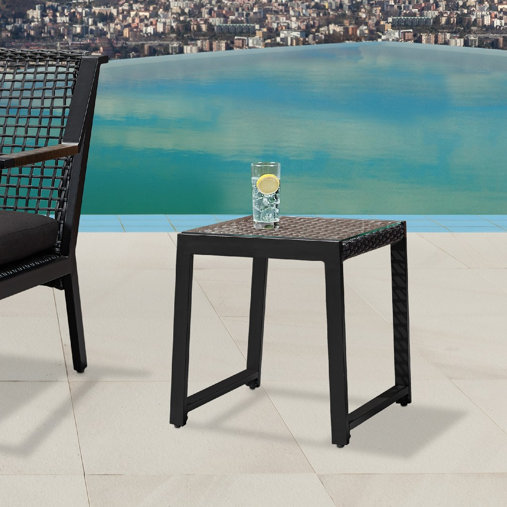 Calvin End Tables in Black Set of Two - Real Flame 9706-BK