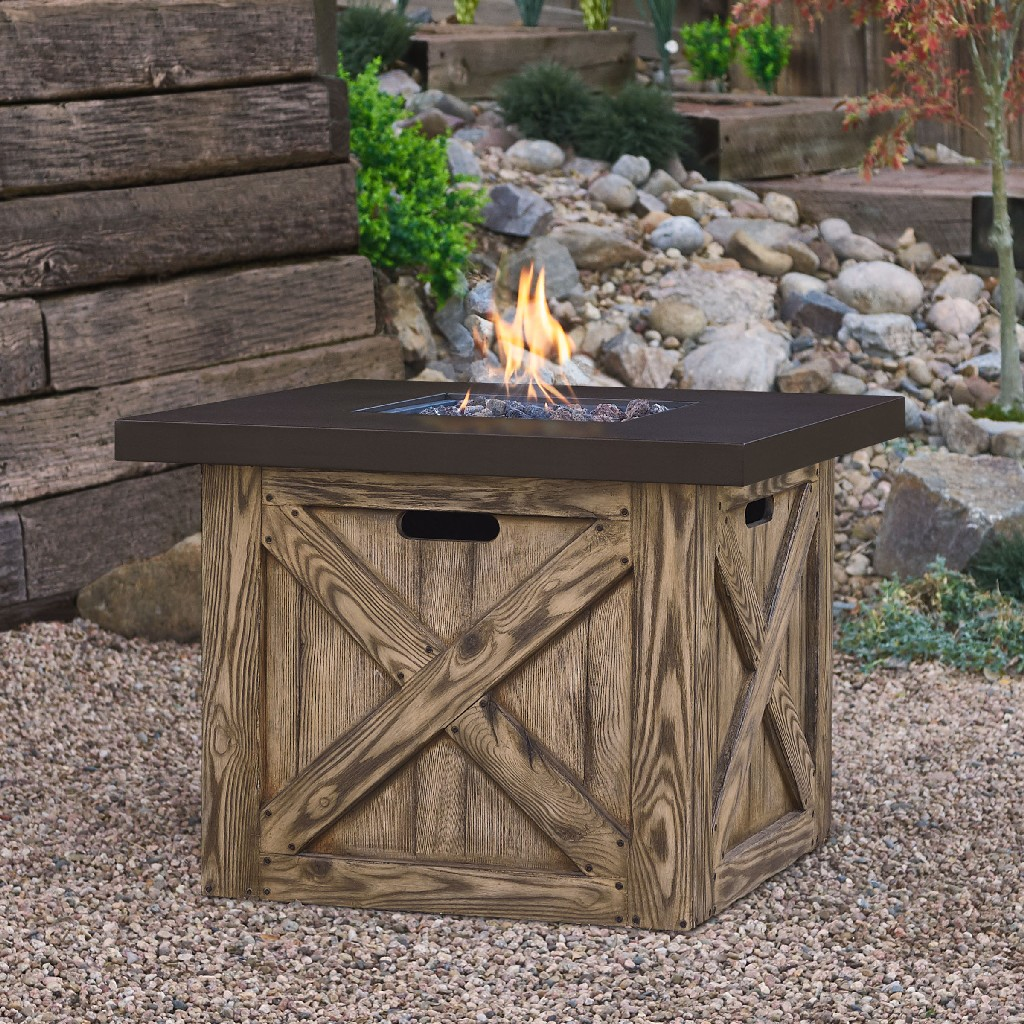 Farmhouse Square Propane Fire Table with Natural Gas Conversion Kit, in Rustic Pine - Real Flame C1725LP-RP