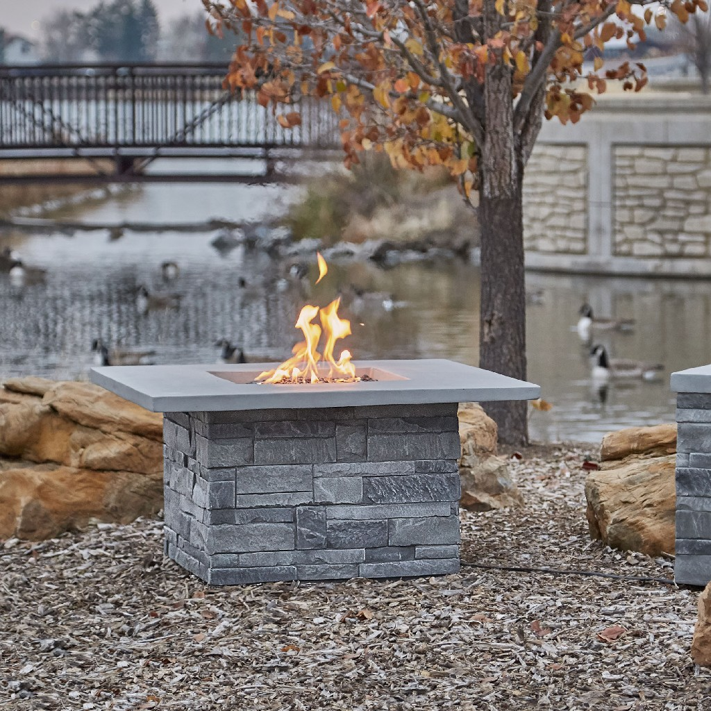 Real Flame Gray Ledgestone Square Propane Fire Table Gray Ledgestone