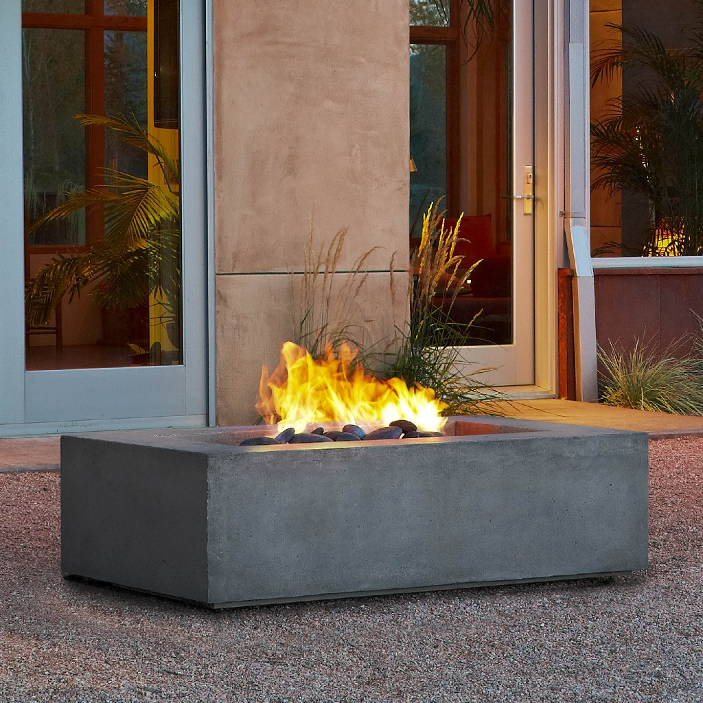 Baltic Rectangle Natural Gas Fire Table in Glacier Gray - Real Flame T9650NG-GLG