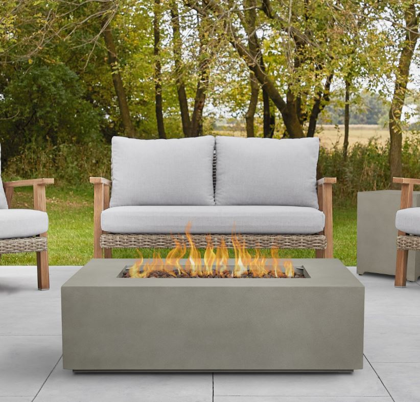 Aegean Small Rectangle Propane Gas Fire Table in Mist Gray w/ Natural Gas Conversion Kit - Real Flame C9811LP-MGRY
