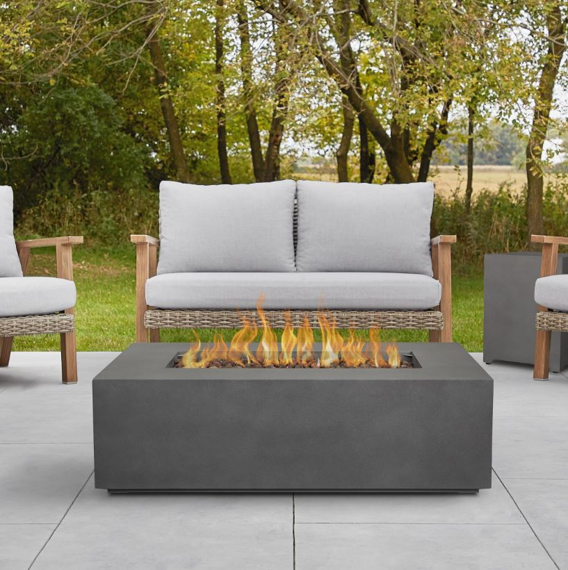 Aegean Small Rectangle Propane Gas Fire Table in Weathered Slate w/ Natural Gas Conversion Kit - Real Flame C9811LP-WSLT