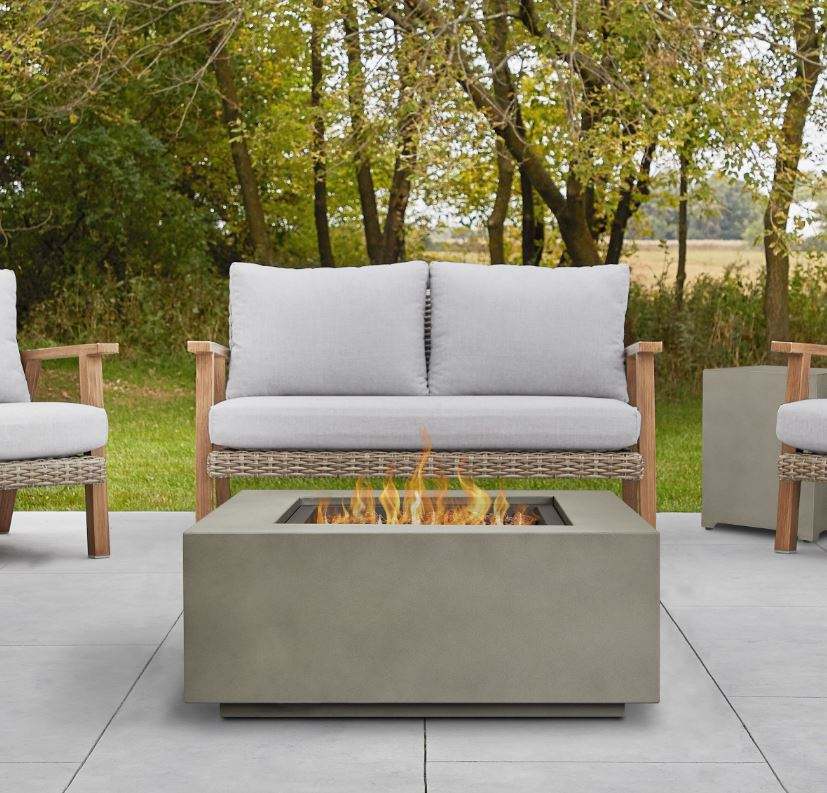 Aegean Square Propane Gas Fire Table in Mist Gray w/ Natural Gas Conversion Kit - Real Flame C9812LP-MGRY