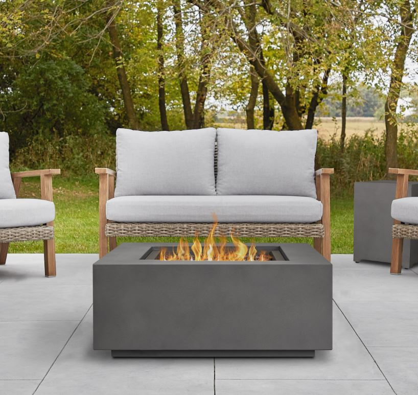 Aegean Square Propane Gas Fire Table in Weathered Slate w/ Natural Gas Conversion Kit - Real Flame C9812LP-WSLT