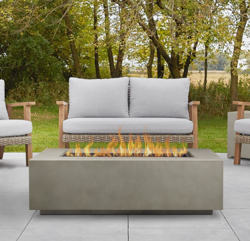 Aegean Large Rectangle Propane Gas Fire Table in Mist Gray w/ Natural Gas Conversion Kit - Real Flame C9813LP-MGRY