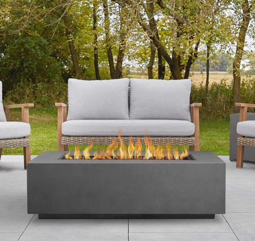 Aegean Large Rectangle Propane Gas Fire Table in Weathered Slate w/ Natural Gas Conversion Kit - Real Flame C9813LP-WSLT